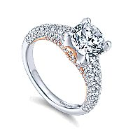 Glicinia 18k White And Rose Gold Round Straight Engagement Ring angle 3