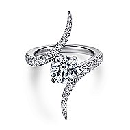 Glory 18k White Gold Round Bypass Engagement Ring angle 1