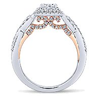 Glow 14k White And Rose Gold Princess Cut Halo Engagement Ring angle 2