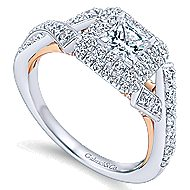 Glow 14k White And Rose Gold Princess Cut Halo Engagement Ring angle 3