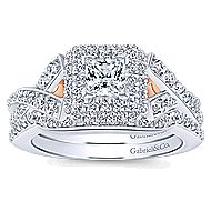 Glow 14k White And Rose Gold Princess Cut Halo Engagement Ring angle 4