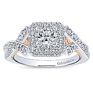 Glow 14k White And Rose Gold Princess Cut Halo Engagement Ring angle 5
