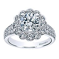 Grace 18k White Gold Round Halo Engagement Ring angle 5
