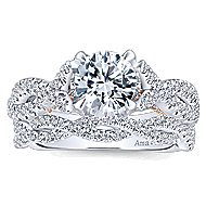 Graciela 18k White And Rose Gold Round Twisted Engagement Ring angle 4