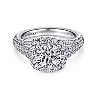 Gramercy 18k White Gold Round Halo Engagement Ring angle 1
