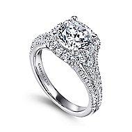 Gramercy 18k White Gold Round Halo Engagement Ring angle 3