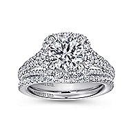Gramercy 18k White Gold Round Halo Engagement Ring angle 4