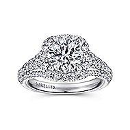 Gramercy 18k White Gold Round Halo Engagement Ring angle 5