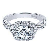 Greta 14k White Gold Round Halo Engagement Ring angle 1