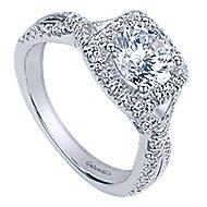 Greta 14k White Gold Round Halo Engagement Ring angle 3