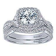 Greta 14k White Gold Round Halo Engagement Ring angle 4