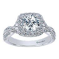 Greta 14k White Gold Round Halo Engagement Ring angle 5