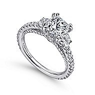 Gretchen 18k White Gold Cushion Cut 3 Stones Engagement Ring angle 3