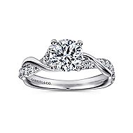 Gwen 18k White Gold Round Twisted Engagement Ring