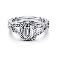 Hadley 14k White Gold Emerald Cut Halo Engagement Ring angle 1