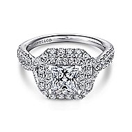 Halle 14k White Gold Princess Cut Double Halo Engagement Ring angle 1