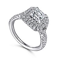 Halle 14k White Gold Princess Cut Double Halo Engagement Ring angle 3
