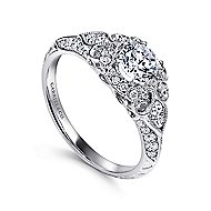 Halsey 14k White Gold Round Halo Engagement Ring angle 3