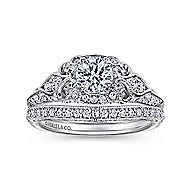 Halsey 14k White Gold Round Halo Engagement Ring angle 4