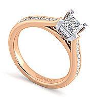 Hannah 14k White And Rose Gold Princess Cut Straight Engagement Ring angle 3