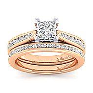 Hannah 14k White And Rose Gold Princess Cut Straight Engagement Ring angle 4