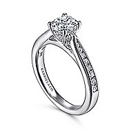 Hannah 14k White Gold Round Straight Engagement Ring angle 3