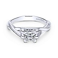 Harley 14k White Gold Princess Cut Twisted Engagement Ring angle 1
