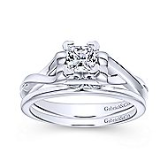 Harley 14k White Gold Princess Cut Twisted Engagement Ring angle 4