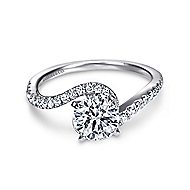Harmony 14k White Gold Round Bypass Engagement Ring angle 1