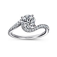 Harmony 14k White Gold Round Bypass Engagement Ring angle 5
