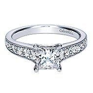 Harriet 14k White Gold Princess Cut Straight Engagement Ring angle 1