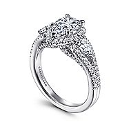 Hartley 14k White Gold Pear Shape Halo Engagement Ring
