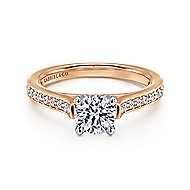 Hayden 14k White And Rose Gold Round Straight Engagement Ring angle 1