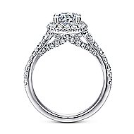 Hazel 14k White Gold Round Halo Engagement Ring angle 2