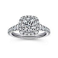 Hazel 14k White Gold Round Halo Engagement Ring angle 5