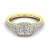 Hazel 14k Yellow Gold Princess Cut Halo Engagement Ring
