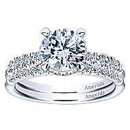 Herlene 18k White Gold Round Halo Engagement Ring angle 4