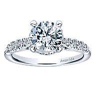 Herlene 18k White Gold Round Halo Engagement Ring angle 5