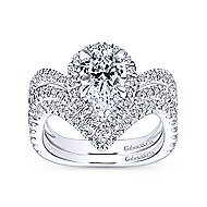 Hibiscus 18k White Gold Pear Shape Halo Engagement Ring angle 4