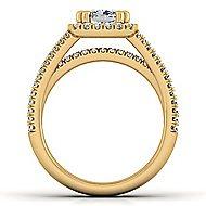 Hillary 14k Yellow Gold Cushion Cut Halo Engagement Ring angle 2