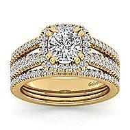 Hillary 14k Yellow Gold Cushion Cut Halo Engagement Ring angle 4