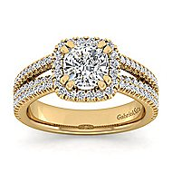 Hillary 14k Yellow Gold Cushion Cut Halo Engagement Ring angle 5