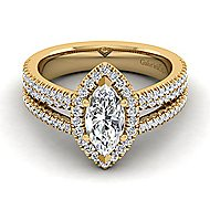Hillary 14k Yellow Gold Marquise  Halo Engagement Ring angle 1