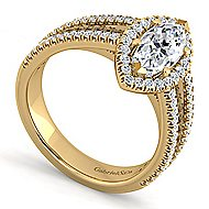 Hillary 14k Yellow Gold Marquise  Halo Engagement Ring angle 3