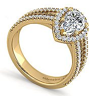 Hillary 14k Yellow Gold Pear Shape Halo Engagement Ring