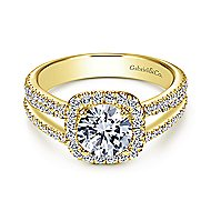 Hillary 14k Yellow Gold Round Halo Engagement Ring angle 1