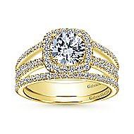 Hillary 14k Yellow Gold Round Halo Engagement Ring angle 4