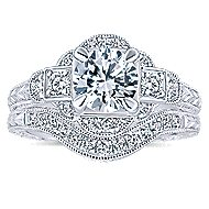 Hillcrest 14k White Gold Round 3 Stones Engagement Ring angle 4
