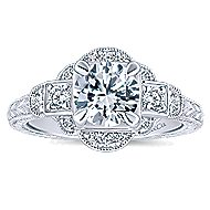 Hillcrest 14k White Gold Round 3 Stones Engagement Ring angle 5