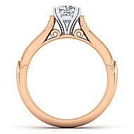 Hollis 14k White And Rose Gold Cushion Cut Straight Engagement Ring angle 2